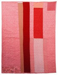 Colorado Quilt - pink and red, flowered scrap at bottom, love the colored big stitch