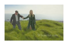 In this limited edition print we see the two figures together for the first time. The waves of grass mimic the motion of a heavy sea, however the figure in green seems to glide effortlessly through the stormy terrain. Art With Meaning, Mediums Of Art, Irish Landscape, Irish Art, Landscape Prints, Watercolor Artwork, Light Painting, Limited Edition Prints, Illusions