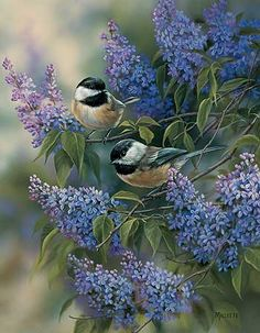 """""""Chickadees and Lilacs"""" by Rosemary Millette"""