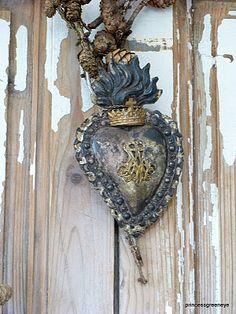 wonderful old ex voto heart