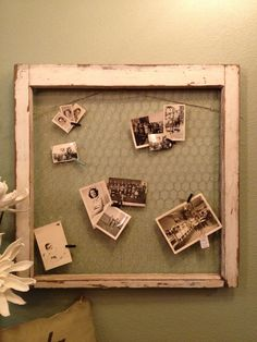 Old window chicken wire frame & cute clothes pins to put of pictures