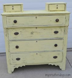 Lindsay from My Creative Days gave this yard sale dresser a new shabby-chic look with Creme Brulee and some detail distressing.