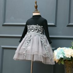 2017 Brand Girls Dress new Embroidered Flower Lace Girl Dresses Black Grey Long Cotton Sleeves for age 2 3 4 5 6 7 Years #Affiliate