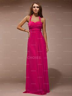 Graceful Sheath/Column Halter Sleeveless Ruffles Floor-Length Chiffon Bridesmaid Dresses | Choies