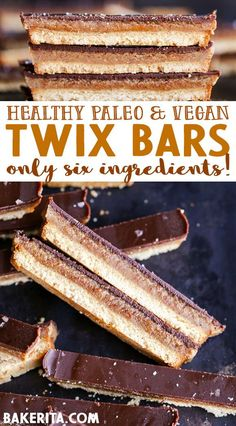 Try out these homemade gluten free, paleo, and vegan twix bars! Everyone loves clean eating recipes for beginners. Bon Dessert, Paleo Dessert, Healthy Dessert Recipes, Whole Food Recipes, Snack Recipes, Cooking Recipes, Healthy Breakfasts, Recipes For Baking, Paleo Desert Recipes