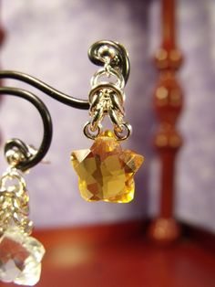 Sterling Silver Byzantine Half-Crown Earrings with Puffy Faceted Quartz Star Briolettes by SilverTabbyStudios, $38.00