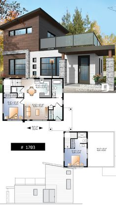 Discover the plan 1703 - Joshua from the Drummond House Plans house collection. 2 bedroom small and tiny Modern house with deck on floor, affordable building costs. House Floor Design, Modern House Floor Plans, 2 Storey House Design, Sims House Plans, Contemporary House Plans, Small House Design, Small House Plans, Modern House Design, Small Modern Home