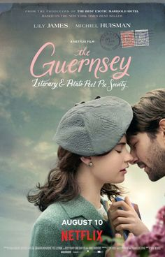 The Guernsey Literary and Potato Peel Pie Society by Mike Newell Period Romance Movies, Romance Film, Nicholas Hoult, Lily James, Jamie Fraser, Outlander, Banks, Potato Peel Pie Society, Lost Poster