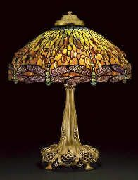 "A ""Jeweled Dragonfly"" Leaded Glass and Bronze Table Lamp, circa 1910, 26""hx22""w"
