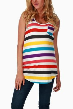 Purple Multi-Colored Striped Maternity Tank Top. Must have for me this summer!