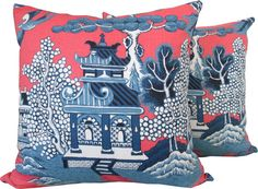Designer Decorative Pillow Cover-Lee Jofa-Asian-Accent Pillow-Chinoiserie-Sofa Pillow-Toss Pillow-Throw Pillow-Pillow Cover-Single Sided