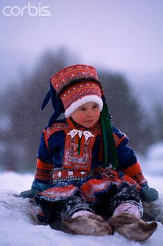 Sami child in traditional costume