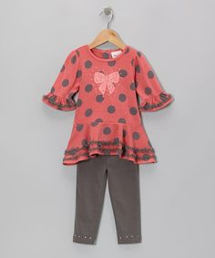 $15. Take a look at this Coral Polka Dot Ruffle Tunic & Gray Leggings - Toddler & Girls by Little Lass on #zulily today!