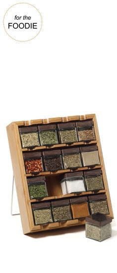 For the Foodie:  Kamenstein® 16 Cube Bamboo Inspirations Spice Rack