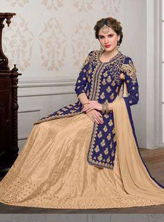 Navy Blue Banglori Silk Long Choli With Lehenga 84851
