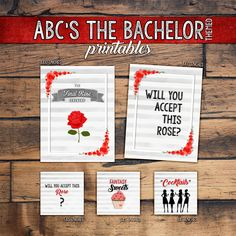 ABC's The Bachelor Viewing Party Printables Package (5 Digital Files) by ErinDipityPrints on Etsy.com (#TheBachelor #ABCBachelor #RoseCeremony #TheBachelorette) Fun Ideas, Party Ideas, Gift Ideas, Bachelor Premiere, Abc Bachelorette, Abc The Bachelor, Pam Pam, Party Printables, Party Time