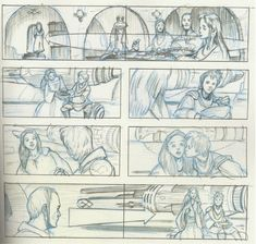 Storyboards of Star Wars prequel