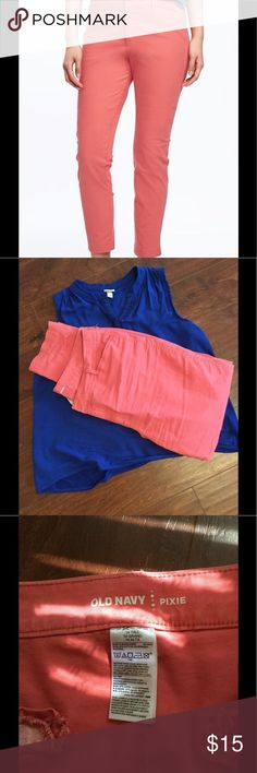 """Coral Pixie Chinos Pixie chino pants in a 14 tall so they come to my ankles (I'm 5'7""""). Bright and fun coral color, worn one time! Just a tad too large for me. There is some stretch but these are mostly cotton. Old Navy Pants Skinny"""