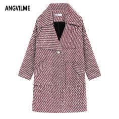 Angvilme шерсть высокого качества Хаундстут пальто 2017, женская обувь Винтаж твидовый пиджак Модные женские пиджаки плед пальто бренда Для женщин Jacke