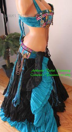 Turquoise Guchi Coin Bra/Belt SET w Fringe Size C Tribal Fusion Belly Dance #Handcrafted - $119 - Caravans Treasurs Ebay