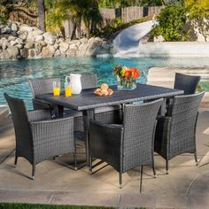$781.14 Christopher Knight Home Outdoor Malta 7-piece Wicker Dining Set with Cushions | Overstock.com Shopping - The Best Deals on Dining Sets