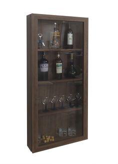 Adega Decorativa para Vinhos, Bebidas Espaço para Copos, Potes e Taças Porta deslizante com vidro incolor. Suspenso para fixação em Parede.