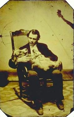 Any Daguerreotype BF worth his salt loves his dog. [tintype self-portrait of photographer E. Scholfield in a rocking chair, cradling a dog], E. Scholfield via Connecticut History Online, Mystic Seaport, Scholfield Collection Antique Photos, Vintage Pictures, Vintage Photographs, Old Pictures, Victorian Pictures, Portraits Victoriens, Post Mortem Pictures, Post Mortem Photography, Cat Dog