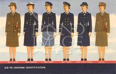 """""""Aid To Uniform Identification"""" ~ WWII era illustrated chart showing the different uniforms of women in the military: WAC Officer, WAVE Officer, Army Nurse, Navy Nurse, SPAR (Coast Guard) and Marine; ca. 1940s."""