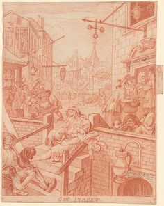 William Hogarth | Gin Street | Drawings Online | The Morgan Library & Museum William Hogarth, Morgan Library, English Artists, Urban Life, Slums, London Art, Native Indian, Old Master, Art Market