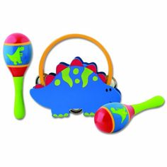 Stephen Joseph Percussion Set, Dino Made of wood. Includes 2 maracas and 1 tambourine. Everyone will enjoy this classic toy with timeless appeal.