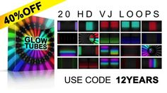"Get ""GLOW TUBES"" VJ LOOPS pack with 40% OFF! Use code 12YEARS #vjloops #animation #motiongraphics #CGI #VFX #3D #vj #video #art #backgrounds #rainbow #color #design #vjpack"