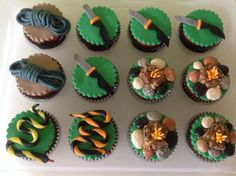 Bear Grylls Themed Cupcakes - rope, knives, snakes & camp fires