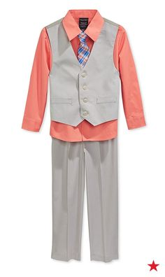Dress your little man in the best this Easter Sunday. A Nautica 4-piece suit set features bright colors perfect for spring.