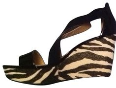 BCBGeneration Zebra Black Patent Woven Sandals 9 Black Zebra Platforms $52 with FREE SHIPPING    BCBG
