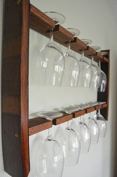Wine Barrel Wine glass holder Unique 10 glass wine glass rack, sides are made from California wine barrels, and two oak shelves that will hol… Hanging Wine Glass Rack, Wine Glass Storage, Wine Glass Shelf, Glass Shelves Kitchen, Wine Glass Holder, Hanging Wine Glasses, Kitchen Decor, Kitchen Cabinets, Oak Shelves