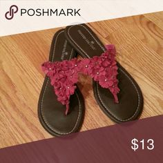 Cute Montego Bay Club Sandals with Fushia Flowers Size 8. Worn only a couple times. Montego Bay Club Shoes Sandals