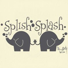 Splish Splash Elephants  Vinyl Decal- Wall Art, Sticker Bathroom - Custom Colors YOU CHOOSE. $12.00, via Etsy.
