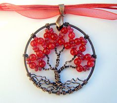 Red Hot Ruby Tree of Life Necklace by CandiSuesCreations on Etsy, $30.00