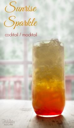 This delicious Sunrise Sparkle Mocktail Cocktail recipe can be mixed together or layered for a fun look. Can be made with or without alcohol.