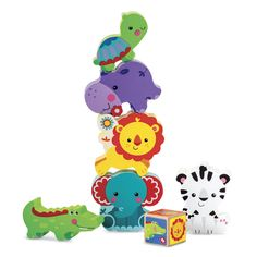 Fisher-Price My First Animal Tower Pretend Play Fisher Price, Toddler Toys, Kids Toys, Fun Educational Games, Tower Games, Developmental Toys, Colorful Animals, Animal Games, Toys Shop