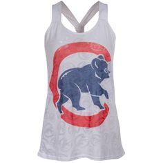 Chicago Cubs Womens Oversize Crawl Bear Logo White Burnout Tank Top by College Concepts #Chicago #Cubs #ChicagoCubs