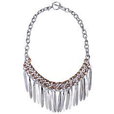 Chloe + Isabel Woven Leather and Metal Fringe Bib Necklace #jewelry #boho