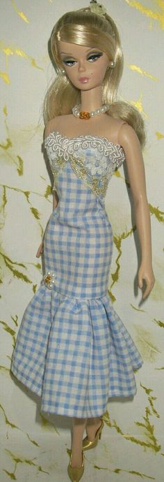 Blue white check Dress for BArbie