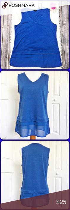 """Verve ami Top Gorgeous royal blue layered Verve ami Tank top.  NWT!  The top portion of the top is made of 85% polyester and 15% linen.  The sheer layered portion is 100% polyester.  Measurements laid flat: bust 20"""" and length from top of shoulder to hem is 28"""". Verve ami Tops Tank Tops"""
