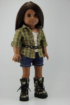 "American Girl doll clothes - 4 piece shorts outfit (fits 18"" doll) (406grn)"