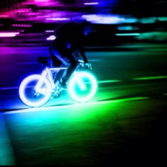 Neon glowing bicycle tires! Epicness...