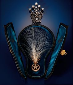 A Late Victorian Aigrette.  The egret feather supported by a comet tail set with seed pearls and a star set with old mine cut diamonds within a crescent of graduated half-pearls. Over gilded yellow gold, the folding hair slide of silver-gilt. With a fitted box from J. Snowden of London.