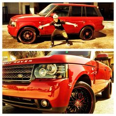 Austin Mahone and his red range rover before he got it wrapped!!