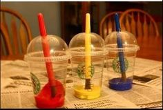 reduce paint messes by using starbucks cups :)