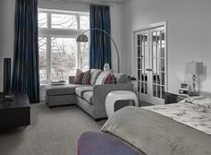View the portfolio of interior designer MILIEU in Chicago, IL French Doors Bedroom, Interior Photography, Sitting Area, Master Suite, Furniture Design, Couch, Curtains, Interior Design, Inspiration